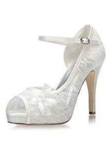 Zapatos de novia de satén 10.5cm Zapatos de Fiesta Zapatos Marfil de tacón de stiletto Zapatos de boda de punter Peep Toe con flor 2cm