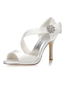 Scarpe da Sposa 2020 in Raso Scarpe Aperte da Sposa con Tacco Alto E Strass