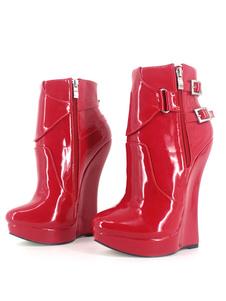 Botas Vermelho Sexy 2020 Mulheres Plataforma Pointed Toe Buckle Detalhe Zip Up Booties