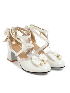 Сладкая Лолита Обувь Лук Кружева Высокий Каблук PU Кожаная Обувь Лолита Туфли