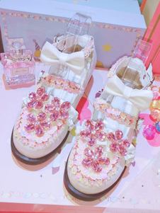 Dulce Lolita Calzado Cristal Flores Arco Punta Redonda PU Cuero Lolita Pump Shoes