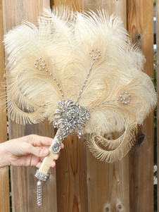 Costume Carnevale Flapper Dress Accessories Strass Feather 1920s Great Gatsby Accessory Retro Fan  Costume Carnevale