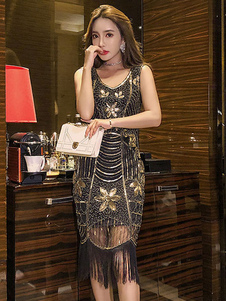 Платья-лямки 1920-х годов Великий Гэтсби Костюм Черное Золото Блесток Бахрома Тюль Ретро Костюм Платье Хэллоуин