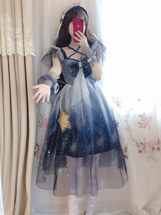 Sweet Lolita JSK Dress Stars Stampa Archi Blue Lolita Jumper Gonne