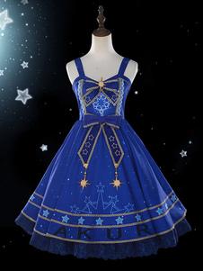 Сладкая Лолита JSK Платье Галактика с принтом Голубой лук Лолита Джемпер Юбки