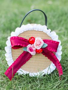 Сладкая Лолита Сумочка Луки Цветы Лук Рюшами Соломенные сумки Лолита Аксессуары