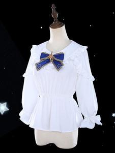Белые блузки с длинными рукавами и оборками Lolita