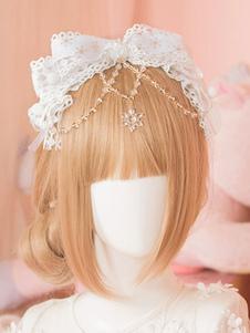 الأبيض لوليتا رئيس القوس KC الحلو سلسلة لوليتا اكسسوارات للشعر