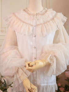 Сладкая Лолита Блузки Топ Лолита Белая длинная рукава с рюшами Рубашка Лолита