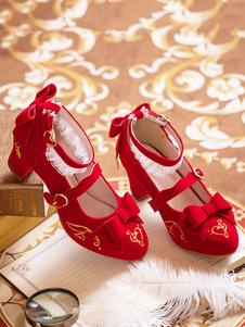 Zapatos de Lolita clásicos de Lolita Rumps de tacón con punta en punta PU de cuero