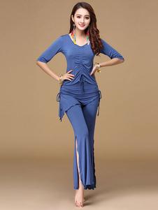 Disfraz Carnaval Disfraz de danza del vientre Disfraz de rendición para mujer con cordón acanalado en azul profundo Halloween Carnaval