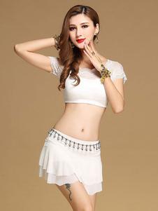 ダンス 衣装 ホワイト ベリーダンス衣装 大人用 社交ダンス衣装 トップス スカート 女性用 セクシー ポリエステル