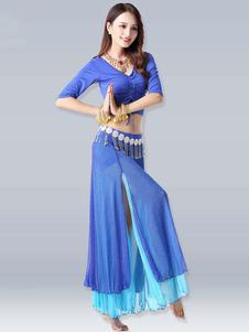 Disfraz Carnaval Trajes de danza del vientre Royal Blue High Slit Belly Ruffle V Neck Drawstring Dance Wear para mujeres Halloween Carnaval