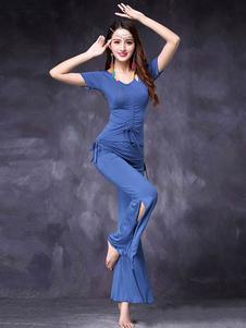 عيد الرعبأزياء الرقص الشرقي أعلى الرباط Ruched مع ارتفاع الشق بانت المرأة ملابس الرقص