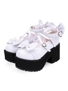 Zapatos Sweet Lolita Arcos PU Plataforma de cuero Chunky Heel Lolita Pumps
