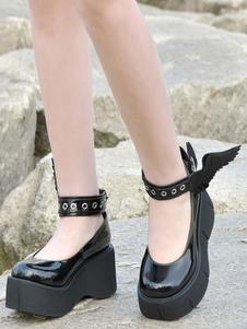 Gothic Lolita Pumps Black Wings PU Leather Flatform Lolita Shoes