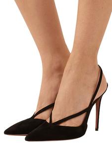 Camurça De Salto Alto 2020 Preto Dedo Apontado Slingbacks Bombas Mulheres Vestido Sapatos