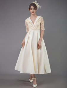فستان الشمبانيا كوكتيل اللباس 2020 الحرير جميلة الشاي طول ألف خط الخامس الرقبة حزب اللباس الاجتماعي عام2020فساتين الأم لحضور حفل زفاف