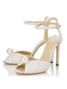 Женские вечерние туфли Белый Peep Toe Жемчуг Подробнее Лодыжки Ремень Сандалии на высоком каблуке Свадебная обувь