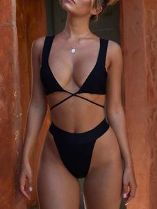 Swimsuit de corte alto biquíni sexy bandage swimsuit frente praia