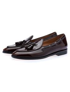 الرجال شرابة متعطل أحذية جلد البقر الانزلاق على الأحذية المسطحة