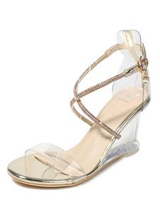 Sandálias de cunha de ouro mulheres Open Toe strass Patchwork Criss Cross sandália sapatos