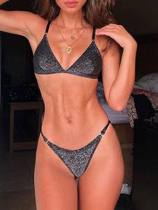 Bikini para mujer Traje de baño metálico 2020 V Correas de cuello Traje de baño sexy de verano
