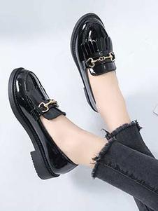 Школьная форма обувь черный металлик круглый носок лакированная PU верхняя накладка на насосах Хэллоуин