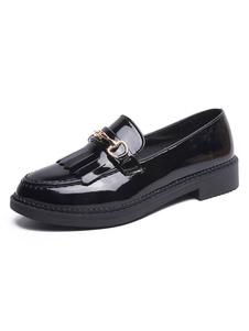 Школьная форма туфли черная бахрома металлический круглый носок лакированные PU верхние насосы Хэллоуин