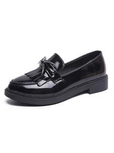 Школьная форма обувь черный бахромой бантом круглый носок лакированные PU верхние насосы Хэллоуин
