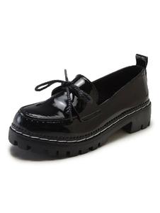 Школьная форма обуви черный бантом круглый носок лакированные PU верхние насосы Хэллоуин