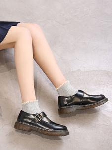 Туфли школьной формы Черная металлическая пряжка с круглым носком из искусственной кожи Туфли на высоком каблуке Хэллоуин