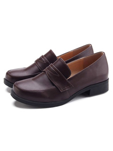Обувь школьной формы Кофе Коричневый с круглым носком ПУ Кожаные туфли Хэллоуин