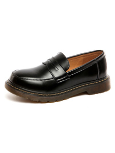 Uniforme Escolar Sapatos Preto Rodada Toe Faux Leather Slip On Bombas Halloween