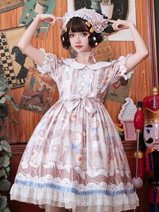 甘いロリータOPドレスデザートプリント弓半袖ロリータワンピースドレス