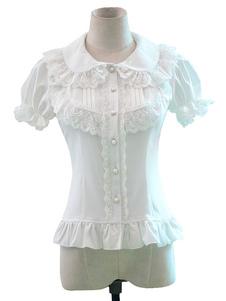قميص لوليتا الحلو الدانتيل الأبيض كشكش قصيرة الأكمام أعلى لوليتا