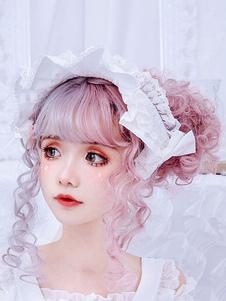 Dolce Lolita Copricapo BNT Bianco Pizzo Archi Nastri Bonnet Lolita Accessori per capelli