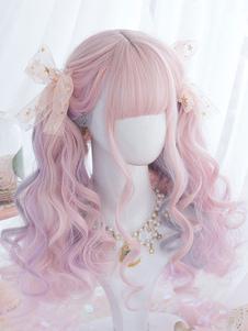 الحلو لوليتا الباروكات الوردي أومبير طويل مجعد الشعر المستعار لوليتا مع بلانت بانج