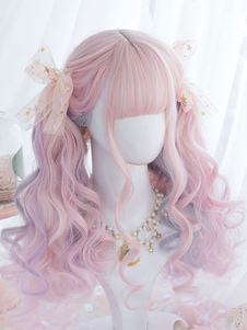 Perucas de Lolita doce rosa Ombre Perucas de cabelo Lolita longo encaracolado com golpe sem corte