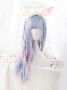 شعر مستعار الحلو لوليتا المتناثرة يونيكورن الطفل الأزرق بلانت بانج لوليتا الشعر الباروكات