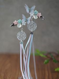 Китайский стиль лолита заколка для волос голубая бабочка цветы ленты хан лолита головные уборы