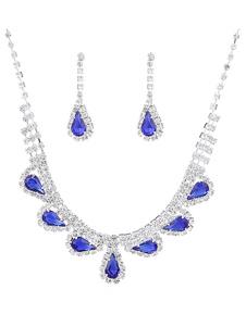 Свадебный комплект украшений невесты Серебряное ожерелье со стразами для свадьбы