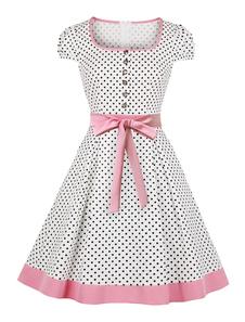 Polka Dot Vestido de Verão 1950s Vintage Mangas Curtas Mulher Bow Sash Swing Dress