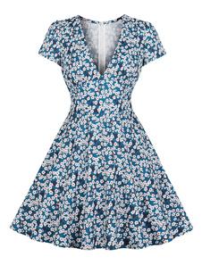 Vestido vintage floral impressão Teal mulher 1950 mangas curtas V Neck chá vestido