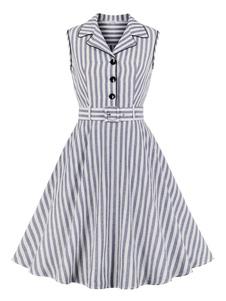 Camisa Vintage vestido listras botões 1950s mangas mulher vestido de verão