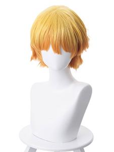 Оранжевый парик аниме Slayer Demon Kimetsu No Yaiba Agatsuma Zenitsu Японские аниме короткие парики для косплея Хэллоуин