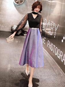 Блестковое платье выпускного вечера 2020 A Line Keyhole Шея с длинным рукавом Длина чая в горошек Тюль Вечерние платья
