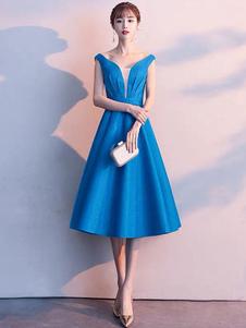 Коктейльное платье с блестками 2020 Гламурное A Line Чай Длина V шеи без рукавов платья