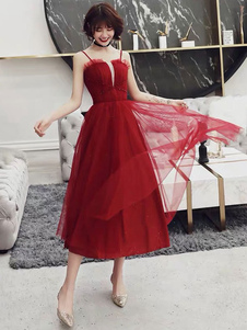 Vestido de cocktail 2020 Tulle Glamour A Linha Chá Comprimento Cintas Chá Comprimento Partido Social Vestidos de Baile