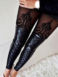 Leggings negros sexy mujer con cordones de cuero de la PU Leggings pitillo